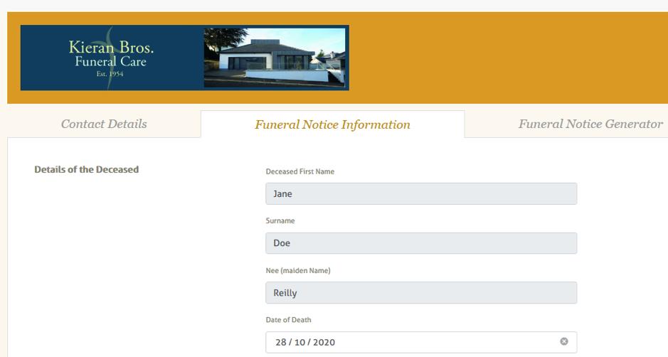 funeral notice information